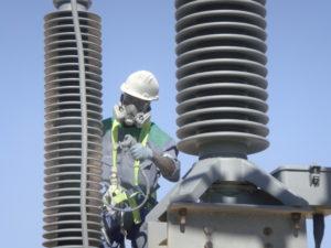 Silicon coating on 132kV Substation insulators